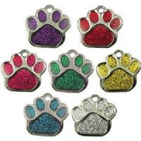 Paw Shaped Glitter Pet Tag